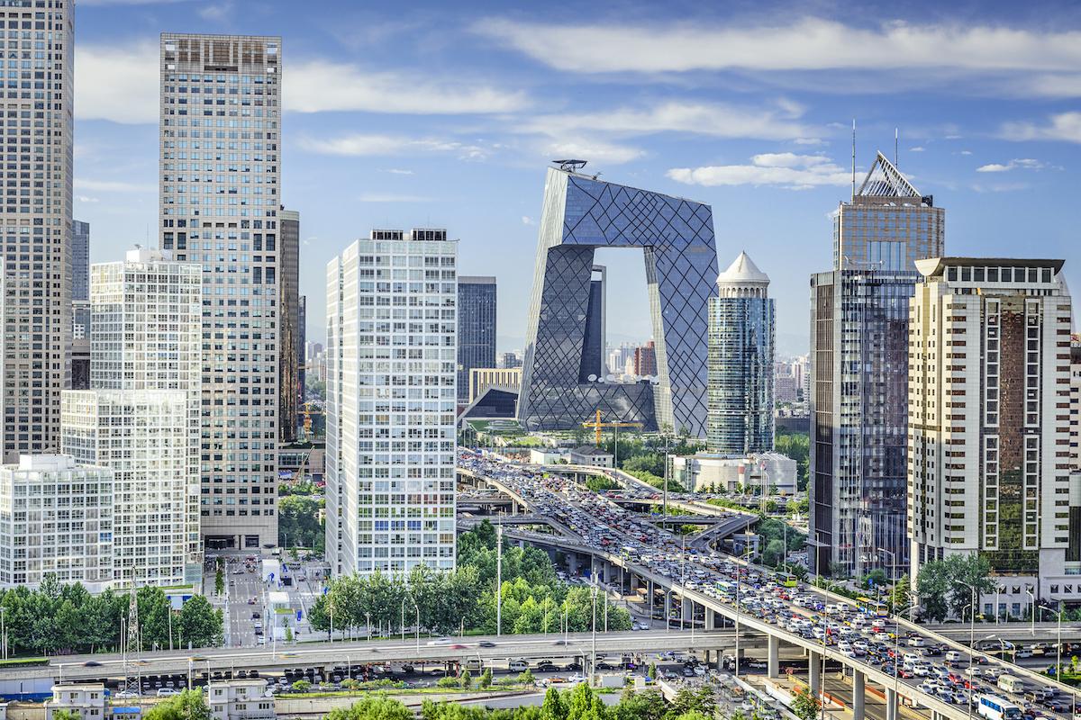 Beijing, China Financial District Skyline.