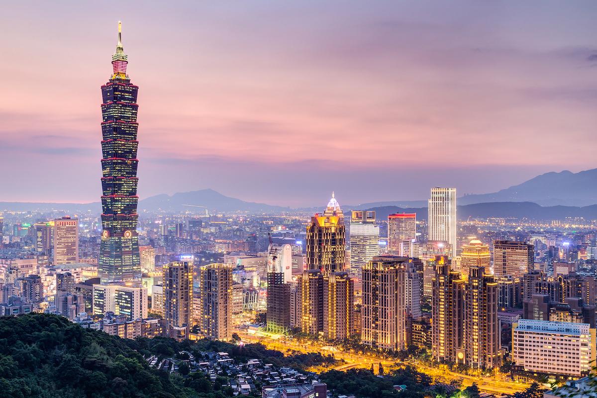Taipei Taiwan - circa August 2015: Taipei 101 or Taipei WTC tower in Taipei Taiwan at sunset
